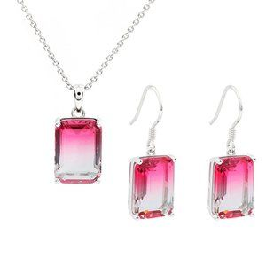 Pink Gemstone Necklace pendant and earrings